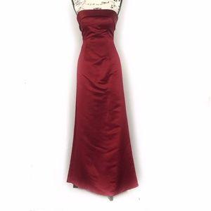 Bill Levkoff Red Strapless Bridesmaid/Prom Dress